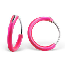 925 Sterling Silver Hot Pink 10mm Sleeper Hoop Earrings Kids Girls Jewellery