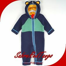 NWT HANNA ANDERSSON SNUGGLE UP NORDIC FLEECE BABY BUNTING BLUE GREEN 80 10-24 M