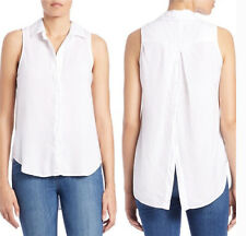 Anthropologie Cloth & Stone Split Back Sleeveless Shirt Top in White Size S