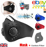 PM2.5 Face Mask Anti Air Pollution Double Vent With Filter Reusable Washable UK