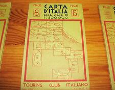 Carta Geografica Antica Regno-6 TCI Firenze Siena Ancona Ravenna Perugia Bologna
