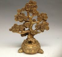 Chinese Brass Fengshui spittor Wealth coin copper cash Cow Money Tree Statue