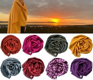 Harris Tweed Pure Wool Luxury Large Wrap Shawl Scarf Cape 75x200cm