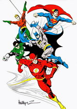 Jose Luis Garcia Lopez SIGNED JLA Comic Art Print Batman Superman Flash Aquaman