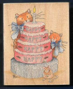 CATS BIRTHDAY CAKE LAYERS MOUSE XL STAMPS HAPPEN #80047 HAPPY wood RUBBER STAMP