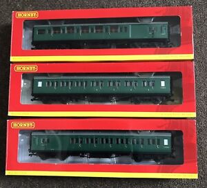 Hornby BR Maunsell Southern Region Coaches,rake Of Three In Excellent Condition