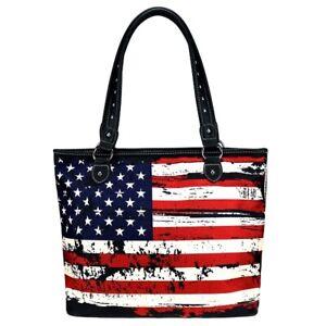 "MONTANA WEST American Flag Canvas Tote Handbag 933-8112BK 16.5"" x 5.5"" x 12.5"""