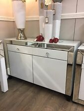 Large Arctic White Mirror 2 Drawer 2 Door Cabinet Sideboard Storage Cupboard