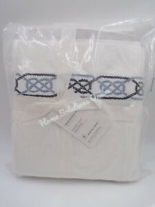 Pottery Barn Rope Embroidered Organic Percale Sheet Set Cool Blue Multi #7105A