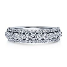 Sterling Silver .925 Women's CZ 3 Row Pave Anniversary Wedding Band Ring Sz 4-10