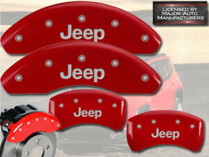 """2018-2020 """"Jeep"""" Compass Front + Rear Red MGP Brake Disc Caliper Covers 4pc Set"""