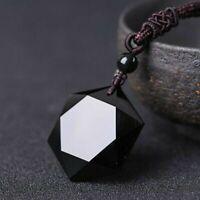 Lucky Obsidienne Pendentif Hexagramme Collier Noir Bijoux Bénédiction Amulette