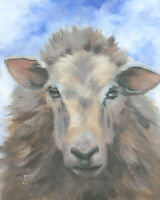 """""""A Hug Please, Wooly Sheep"""" Debra Sepos original oil 8"""" x 10"""" farmyard portrait"""