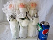 "Three Angels w/ Halos 12"" Wood Silver & White Figure Christmas Holiday Decor"