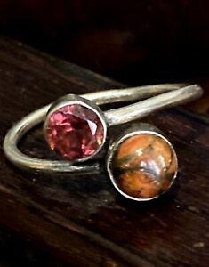 Vintage Modernist 925 Sterling Silver Garnet Agate Wrap Ring Size 7 adjust 2.2g