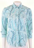 GANT Womens Shirt 3/4 Sleeve UK 12 Medium Blue Paisley Cotton  KJ04