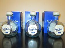 Lot of 3 Empty 750 ML Don Julio Blanco Tequila Bottles With Cork Tops and Boxes