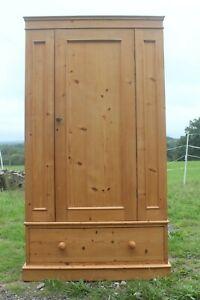 Antique Victorian stripped pine wardrobe