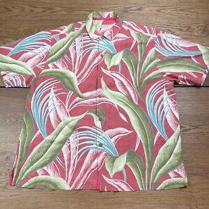 Tommy Bahama XL Silk Tropical Floral Print Hawaiian Pink Guava Green Shirt