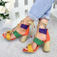 Women Sandals Summer Lace-Up Fashion High Heels Shoes Female Round Heel Shoes