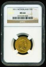 NETHERLANDS 1911 GOLD COIN 10 GULDEN * NGC CERTIFIED GENUINE MS 64 * BRILLIANT
