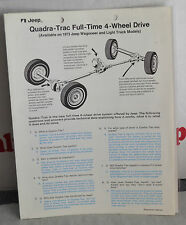 VTG 1973 Advertising Jeep Quadra-Trac Full-Time 4-Wheel Drive Brochure N