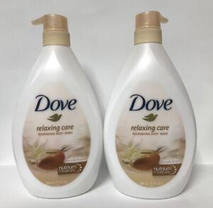 (2) Dove Relaxing Care Shea Butter & Vanilla Nourishing Body Wash W/ Pump-27.5oz