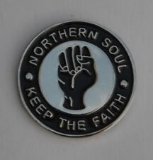 Black Northern Soul Keep The Faith Enamel Lapel Pin Badge