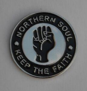 Black Northern Soul Keep The Faith Enamel Lapel Pin Badge