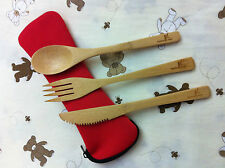 1 Set of Nature bamboo made cutlery with holder.