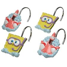 Nickelodeon Spongebob Squarepants & Patrick Shower Curtain Rings / Hooks, 12 ct