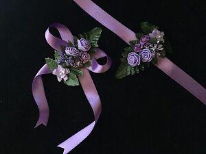 1 Stück Brautjungfern Blumen Armband Bändchen Lila Nedime Bilekligi Flieder
