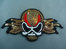 sequined skull and cross bones  emroidered  iron on /sew on badge