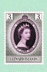 Leeward Islands 1 stamp, SC 132,QEII Coronation Issue CD 312 , 1953, MPH