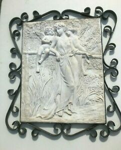 Antique Neo-Classical Plaster Plaque Lovely Woman & Cherubs w/Wrought Iron Frame