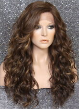 Human Hair Blend Long HEAT OK Full Lace Front Wig Brown mix wavy WEYC 8/27/613