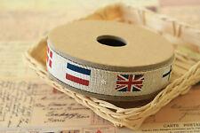 Banderas cinta Zakka Algodón Lino Tela de cinta de costura combinada Gran Bretaña Francia Adorno
