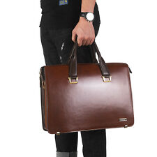 "Quality Genuine Leather Men's Briefcase 14"" Laptop Attache Shoulder bag Handbag"
