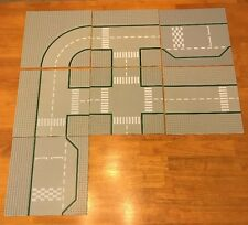 """C9 Lot of 7 Gray Road LEGO Baseplates - Used 10""""x10"""" Square 9-stud"""