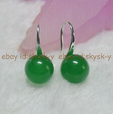 10mm Real Natural Green Jade Round Gemstone Beads Silver Hook Dangle Earrings AA