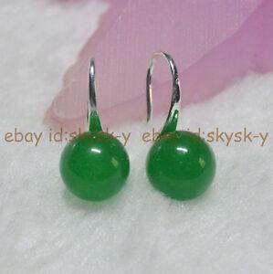 Fashion Green Jade Hoop 925 Silver Fashion Drop Earring 1pair For Lady Xmas Gift