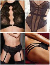 34 B Victoria's Secret Black Chantilly Lace High Neck Bra + Teddy 4 Piece Set