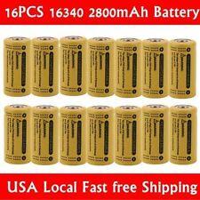 16x 2800Mah 3.7V 16340 CR123A Li-ion Rechargeable Battery Cell Flashlight Cam MG