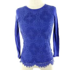 J. Crew Women Knit Top Size XS Blue Lace Front 3/4 Sleeve