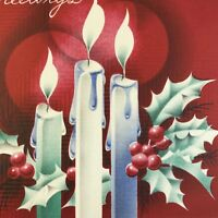 Vintage Early Mid Century Christmas Greeting Card Red Blue Candles Holly Berries