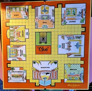 Vintage Parker  Brothers 1963 Clue Game Board and Box Only
