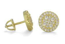 10mm 14k Gold Plated Cluster Cz Bling Screw Back Hip Hop Round Stud Earrings