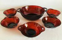 VTG 6 Piece Ruby Red Anchor Hocking Depression Glass Coronation Berry Bowl Set