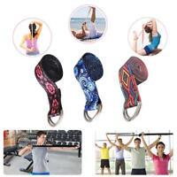 Adjustable Printed Yoga Gym Stretch Strap D-ring Belt Waist Leg Resistance Band