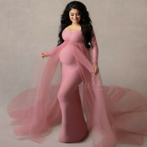 Pregnant Women Dresses Maternity Stretchy Gown Long Sleeve For Photography Shoot